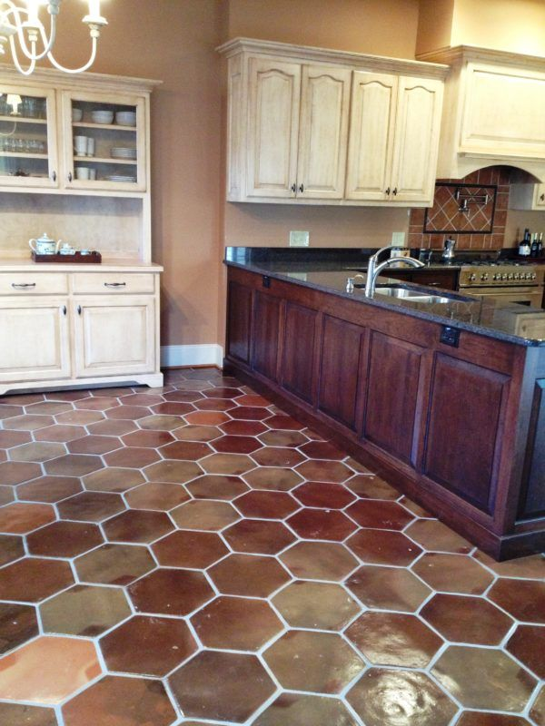 Hexagon Manganese Saltillo Tile Kitchen remodel Pinterest