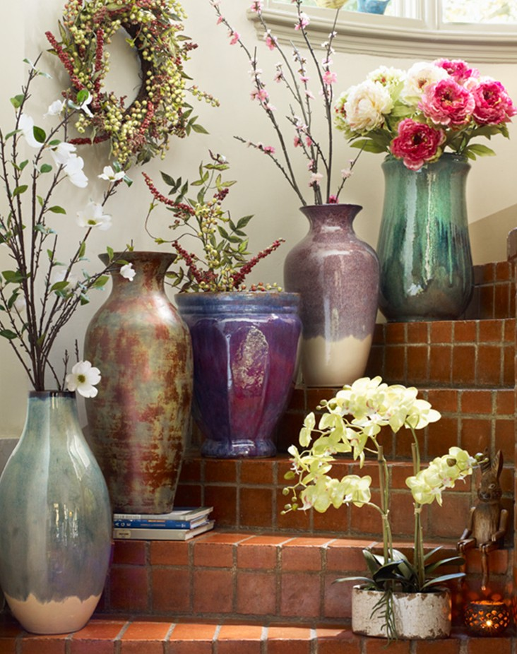 Stairways Are A Natural For Dramatic Displays Even Of Huge Vases Or