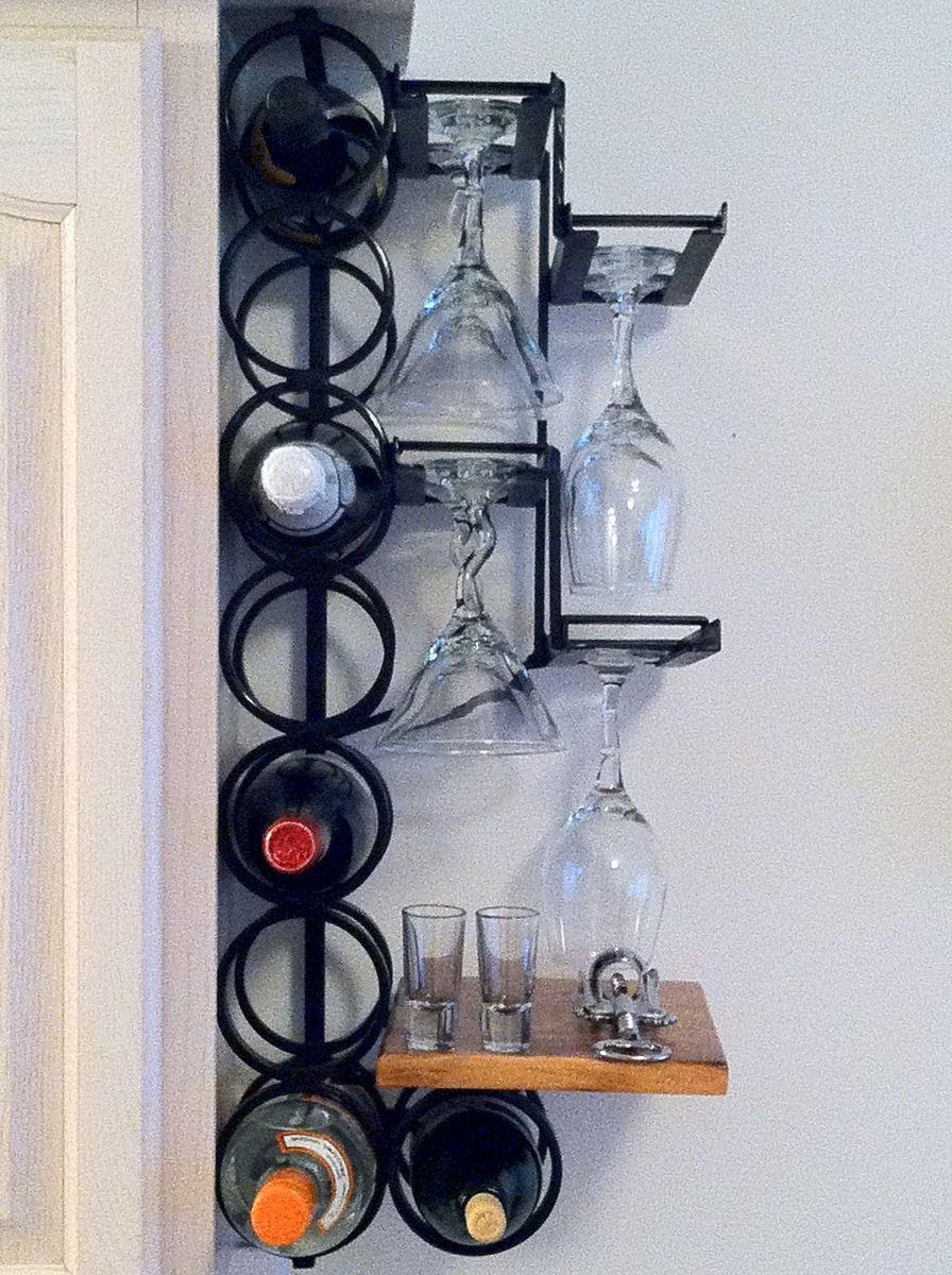 Custom Made 8 Bottle 8 Wine Glass Wrought Iron Wall Mounted Wine