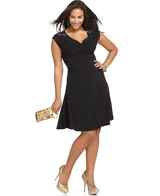 753ae335260a cute black dresses for women. Soprano Plus Size Dress, Sleeveless Beaded  Faux Wrap - Plus Size Dresses - Plus Sizes - Macys