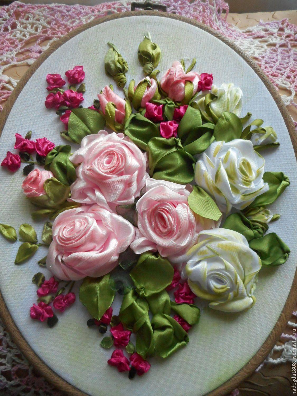 Картинки вышивка розы из лент