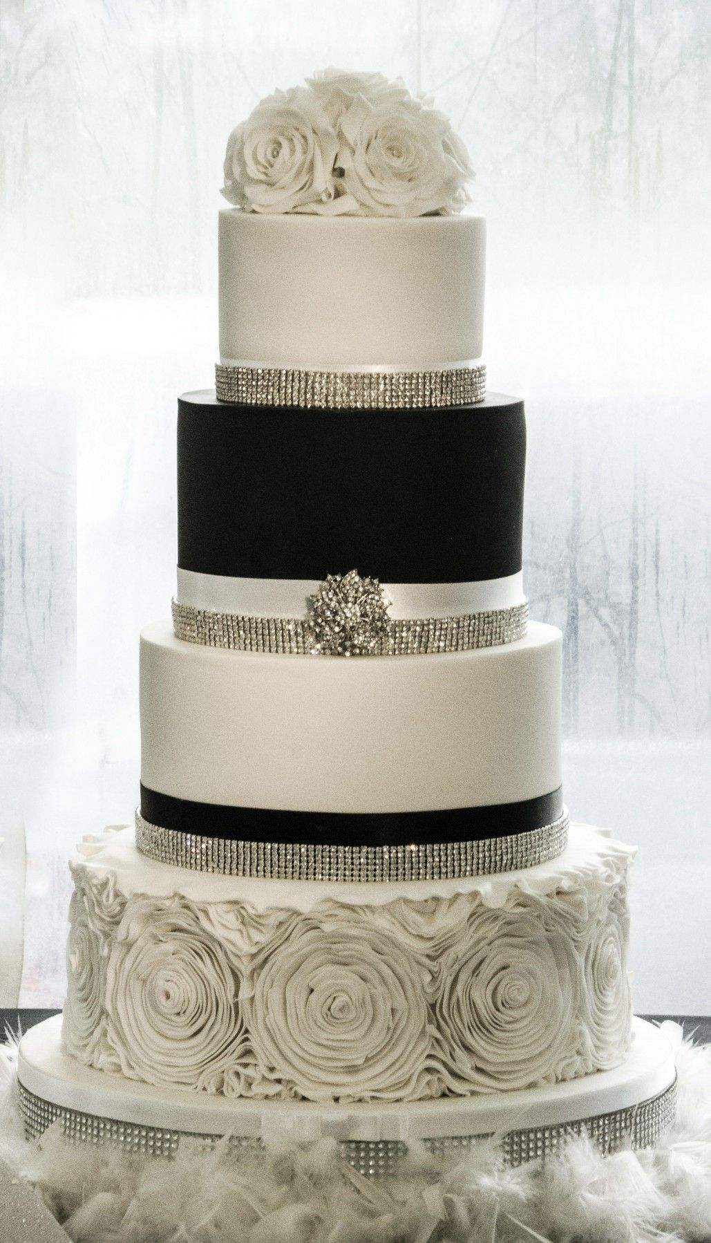 Winter Wedding Cake Black And White Wedding Cake Bling Wedding Cake Ruffle Wedding Cake Black And White Wedding Cake Bling Wedding Cakes Ruffle Wedding Cake