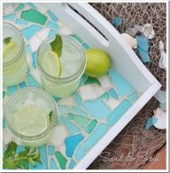 Sea glass mosiac tray tutorial.  I like it a lot, but suddenly it seems a little intimidating and I cant help but wonder if it is cheaper to just buy a fancy tray considering all the materials that need to be purchased.