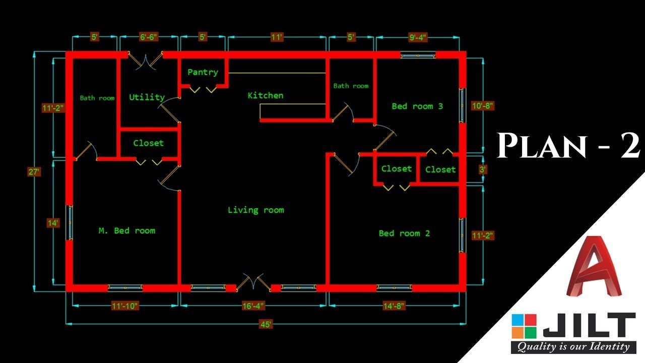 making a simple floor plan 2 in autocad 2018 [ 1280 x 720 Pixel ]
