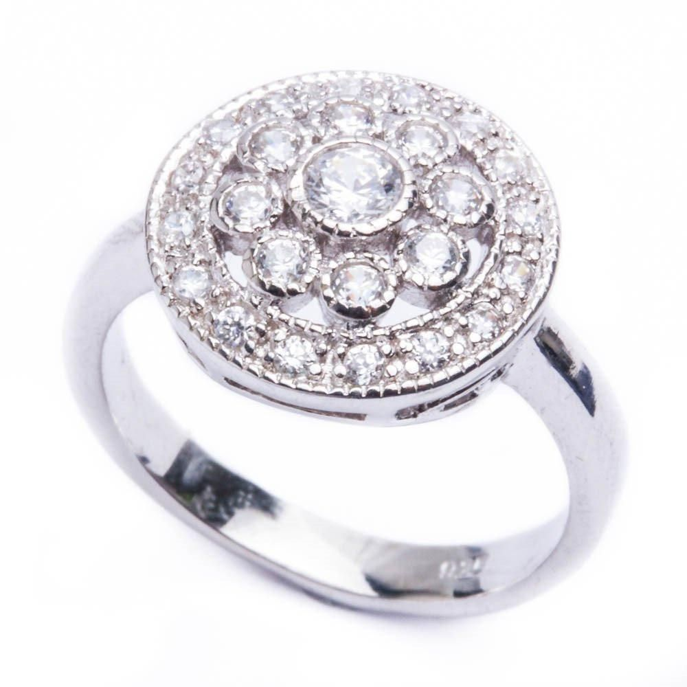 1ct Round CZ Fashion Engagement .925 Sterling Silver Ring Sizes 6-9