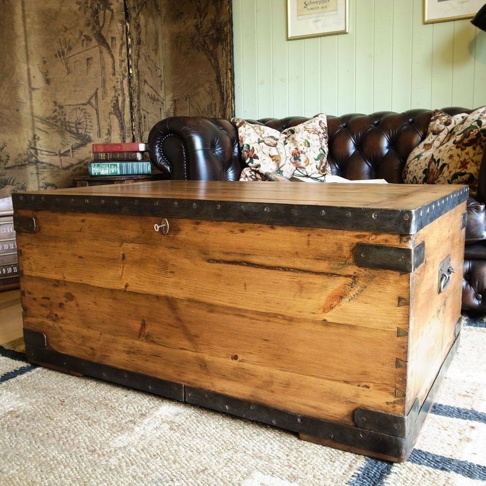 Tutorial turn a military foot lockertrunk into an industrial vintage military chest industrial trunk wwi footlocker pine chest coffee table geotapseo Image collections