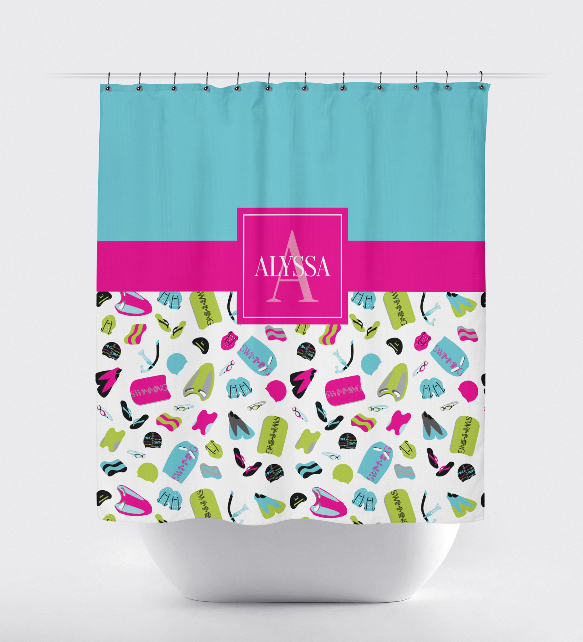 Swimming Themed Shower Curtain With Swimmer S Name Hot Pink