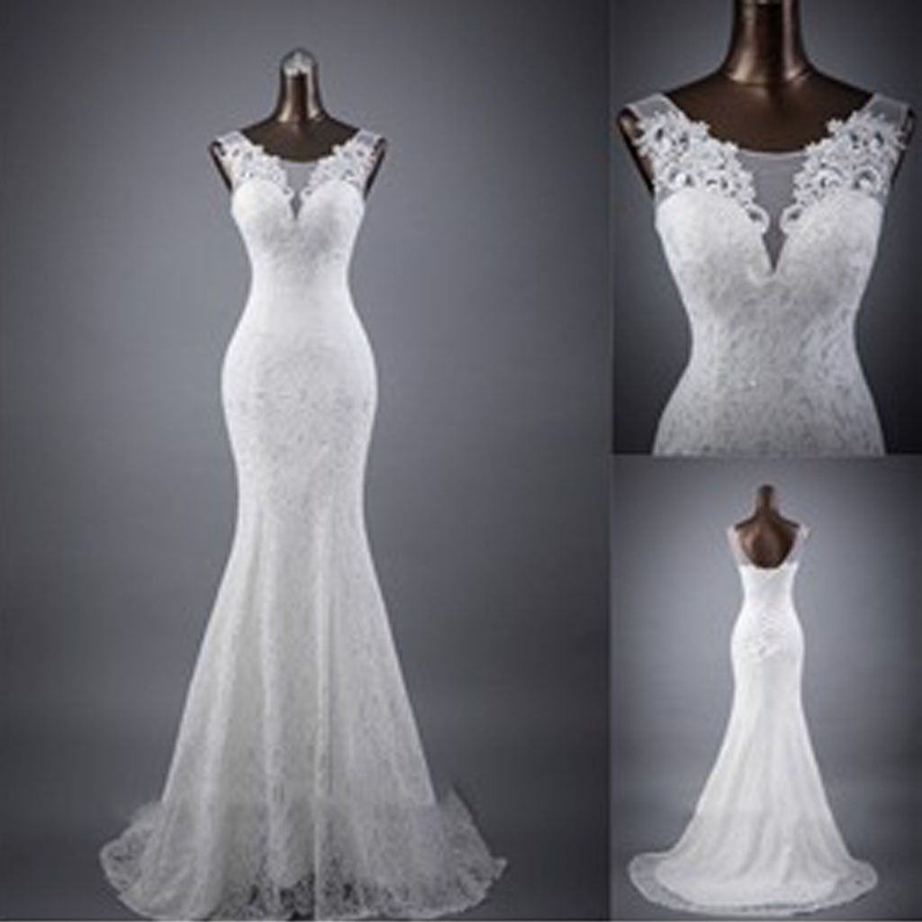 Elegant sleeveless mermaid lace up popular white lace wedding