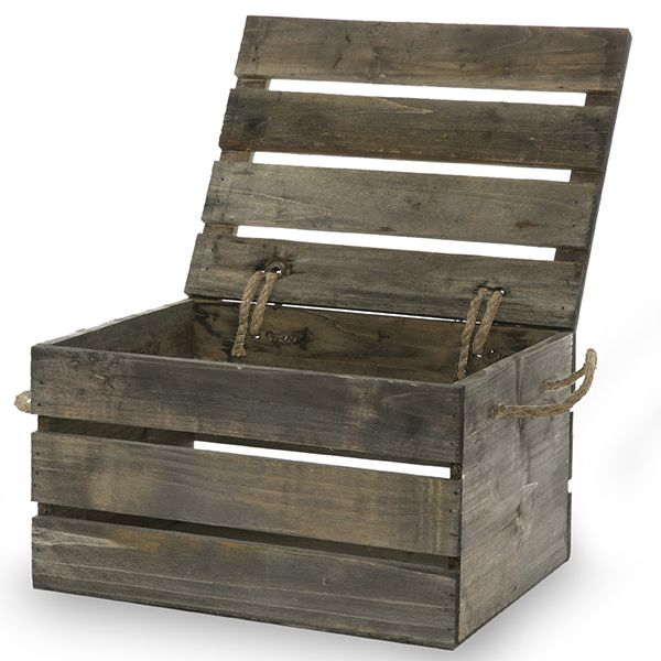 The Lucky Clover Trading Company - Antique Grey Wooden Crate Storage Box with Lid - Medium 11in - $10.50