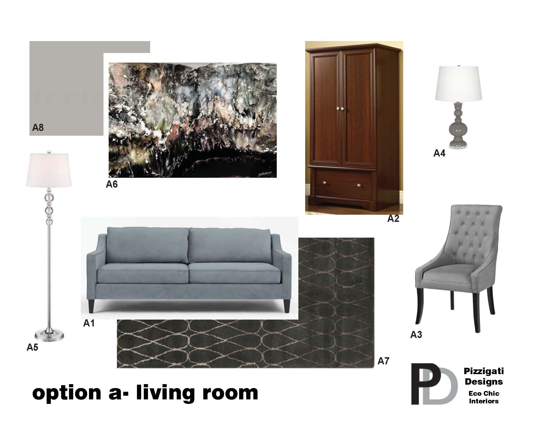Eco Friendly Interior Design- Option A- Living Room Selections #interiordesign #ecofriendly #NYC www.pizzigatidesigns.com