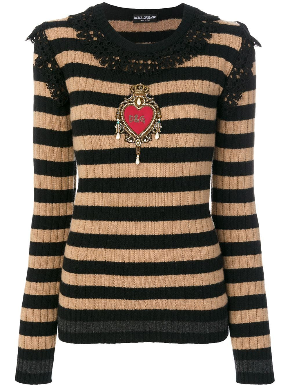 Dolce Gabbana Embellished Lace Trim Pullover Black In 2020 Classic Outfits Pullover Long Sleeve Tops