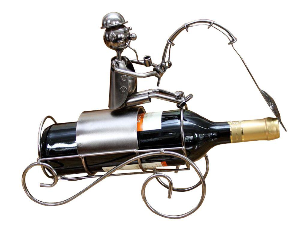Wein Flaschenhalter Angler Angeln Beruf aus Metall,Geschenk Geburtstag,NEU