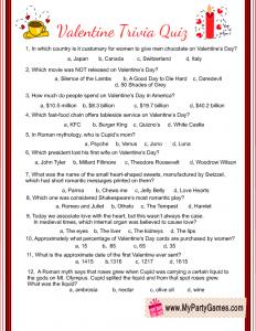 Free Printable Valentine Trivia Quiz Valentines Day