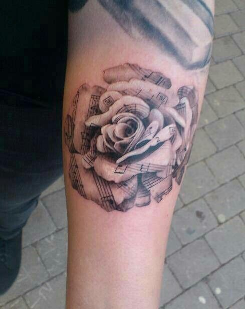 Black Grey Rose Tattoo With Music Notes Tats Of Course Tattoos