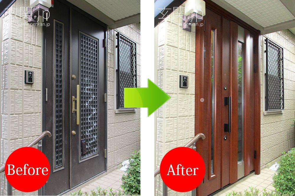 玄関ドアにスプレーでいたずら書き 東京都i様邸の玄関ドア交換施工例