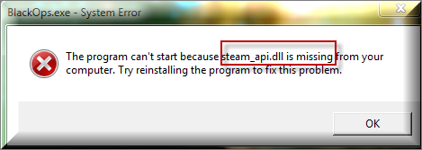 Follow the article to fix the steam_api dll not found or missing