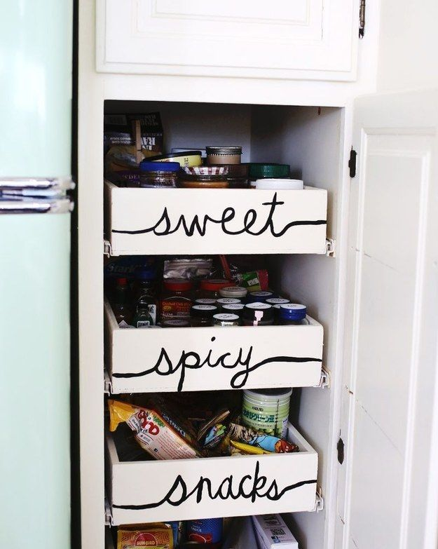 Label your kitchen shelves for easy ingredient-finding.
