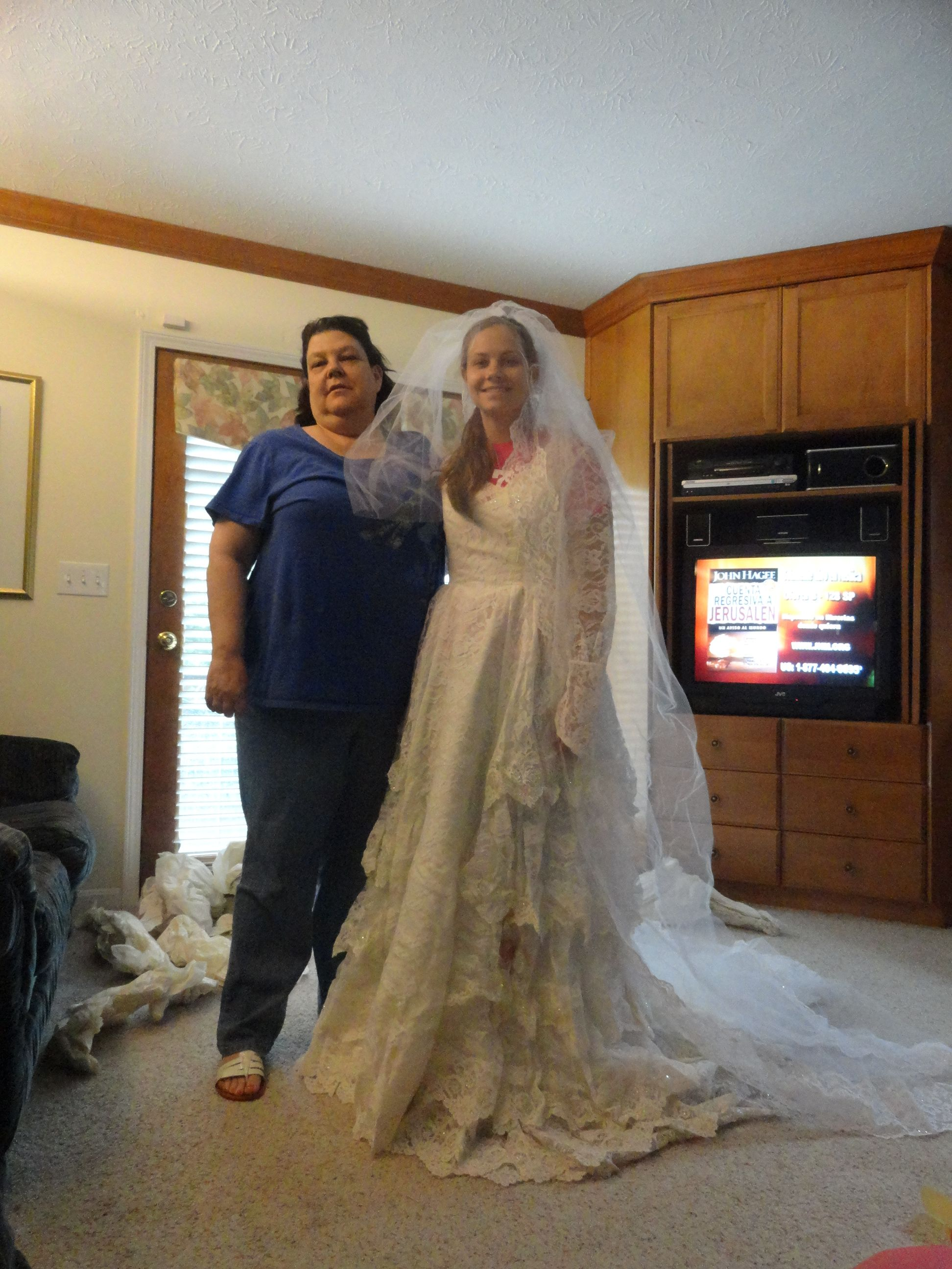 5.13.12-sister and i tried on mom's wedding dress!