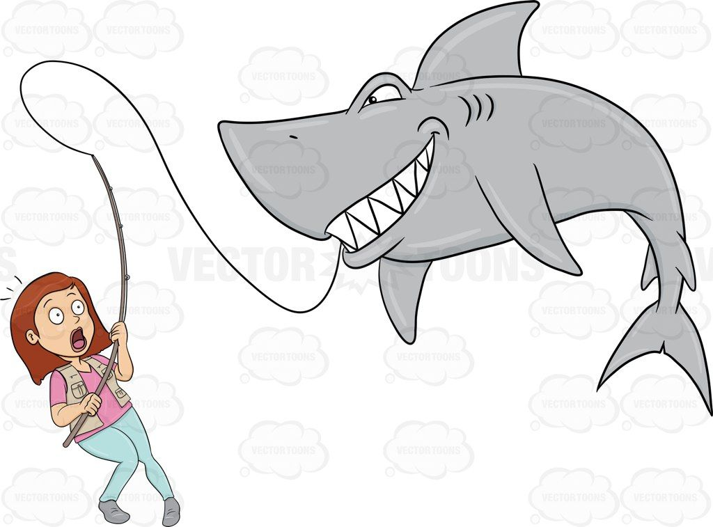 A Woman Looking Surprised And Scared After Catching A Big Shark