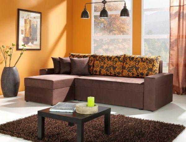 Schönes Design  Wandfarbe Aprcito, Brauner Teppich, Braunes Sofa