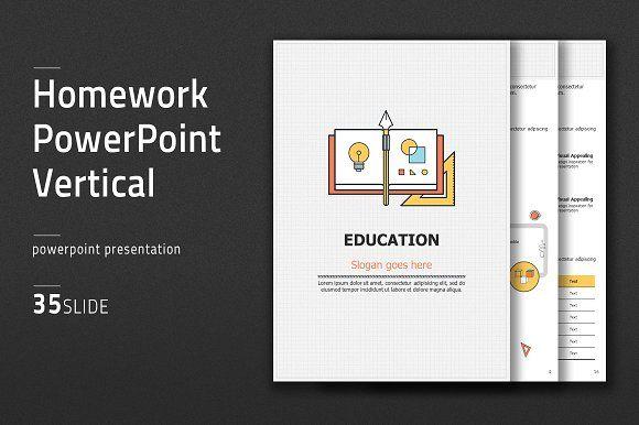 Homework PowerPoint Vertical by Good Pello on @creativemarket