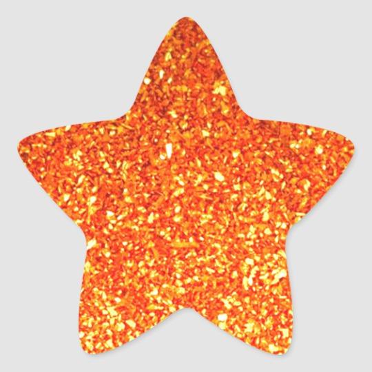 Orange Sparkly Glitter Star Sticker Zazzle Com In 2021 Star Stickers Glitter Stars Star Template