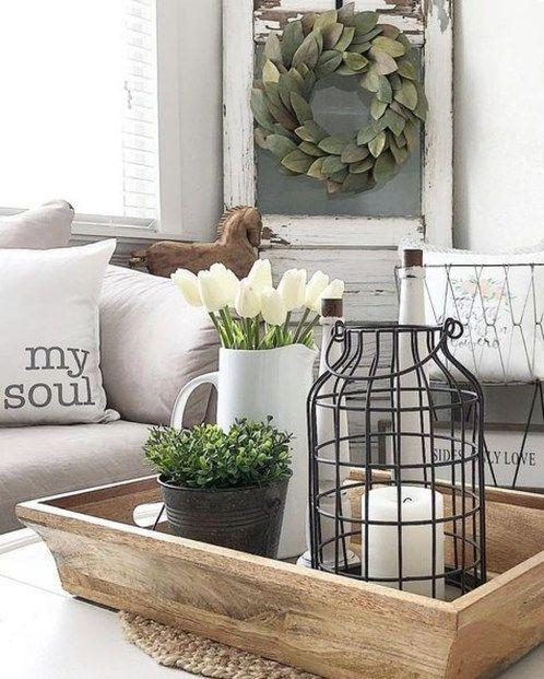 Stunning Rustic Farmhouse Living Room Decor Ideas 14 Country Farmhouse Decor Farmhouse Tabletop Decorating Coffee Tables