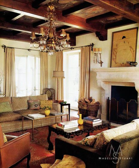 Rustic Eclectic Living Room: Room In Bel Air Spanish Home By Madeline Stuart. Photo By