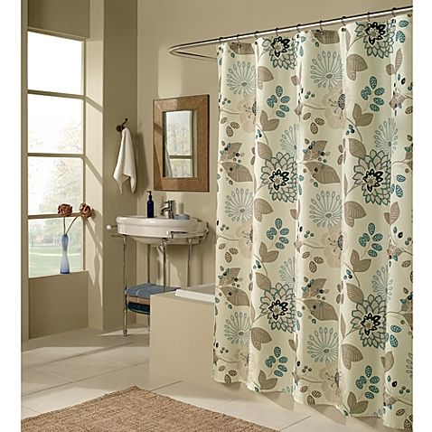 Soft Shades Of Tan Teal And Beige Give This Floral Shower Curtain