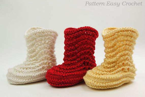 Baby booties knitting pattern - instant download | Lana y Modelo