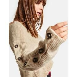 Photo of Pullover mit Deko-Knopfleisten Beige TaifunTaifun
