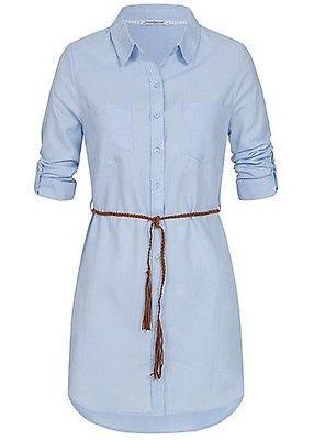 ae1cabff6b1298 Seventyseven Lifestyle Damen Longform Turn-Up Bluse inkl. Gürtel hell blau  - Art.