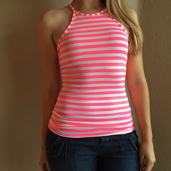 Neon Pink & White Striped High Neck Top Neon Pink & White Striped Tank. Brand new with tags. Available in S-M-L. Model is wearing a small for reference. 87% polyester 13% spandex. No Paypal. No trades. 15% discount on all 3+ item bundles made with the bundle feature. No offers will be considered unless you use the make me an offer feature.     Please follow  Instagram: BossyJoc3y  Blog: www.bossyjocey.com Tops Tank Tops