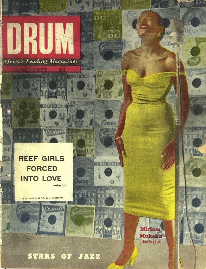 Expositie 'Making Africa' in Vitra Design Museum. Drum Magazine, Miriam Makeba Cover, June 1957. #magazines #magazinecover #photography #graphicdesign #illustration #makingafrica