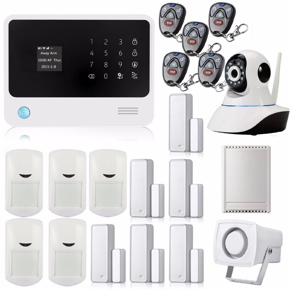 Wifi gsm gprs wireless home security alarm system with ip camera golden security touch screen keypad lcd display wireless wifi gsm 360 degree ip camera with auto dialmotion detectors and more diy home alarm system solutioingenieria