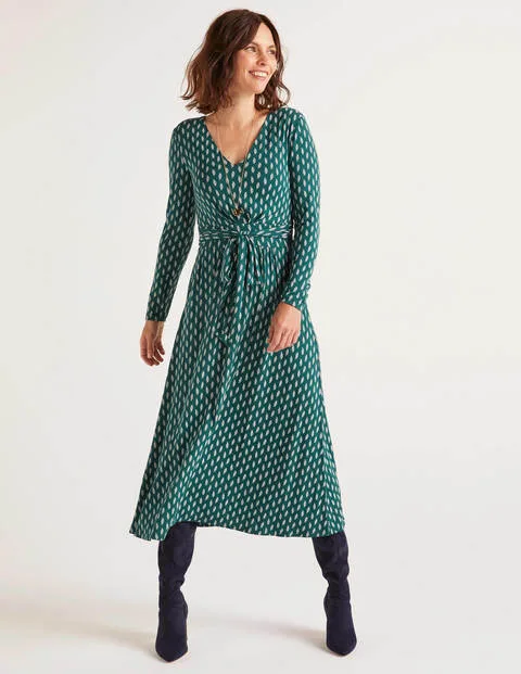 Ferne Jersey Midi Dress Woodland Green Dainty Leaf in 2020