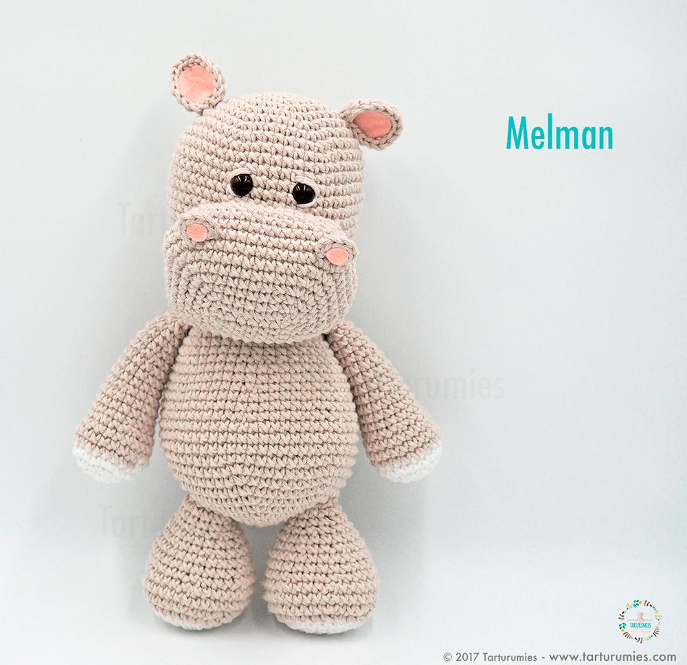 Amigurumi Patrón: El hipopótamo Melman y su amigo Pi