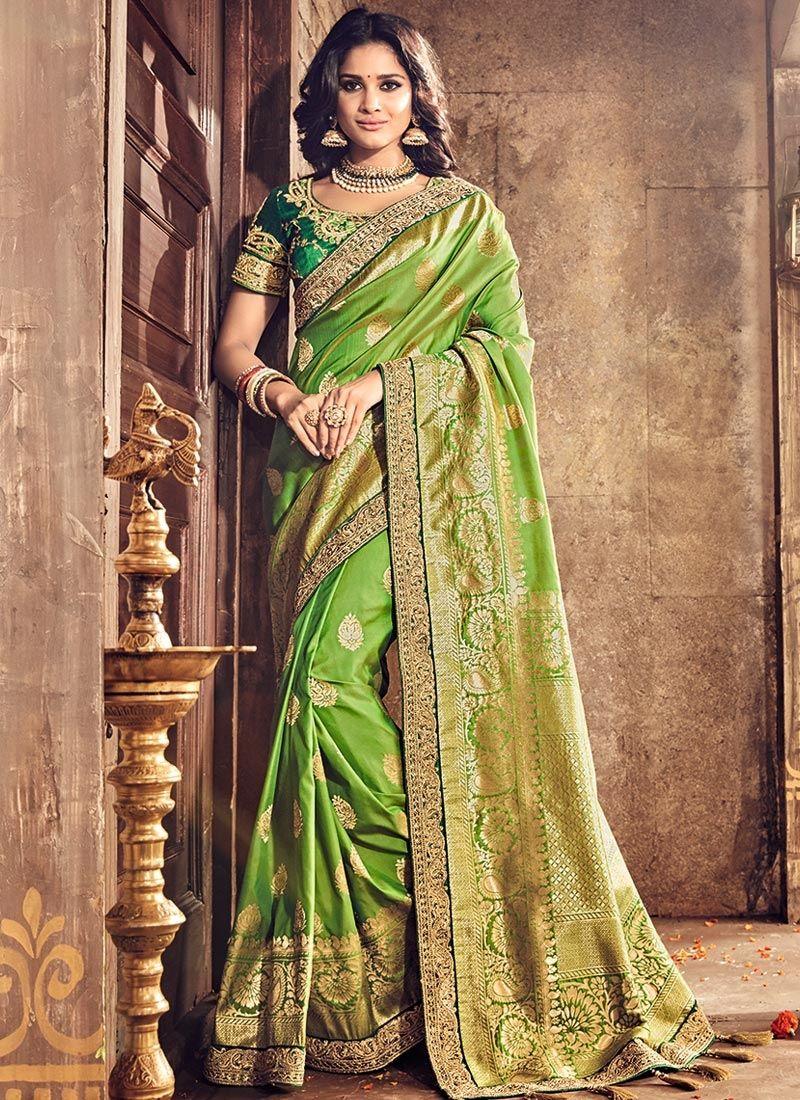Images of saree shop green silk saree online  sarees salwaar kameez u lehenga