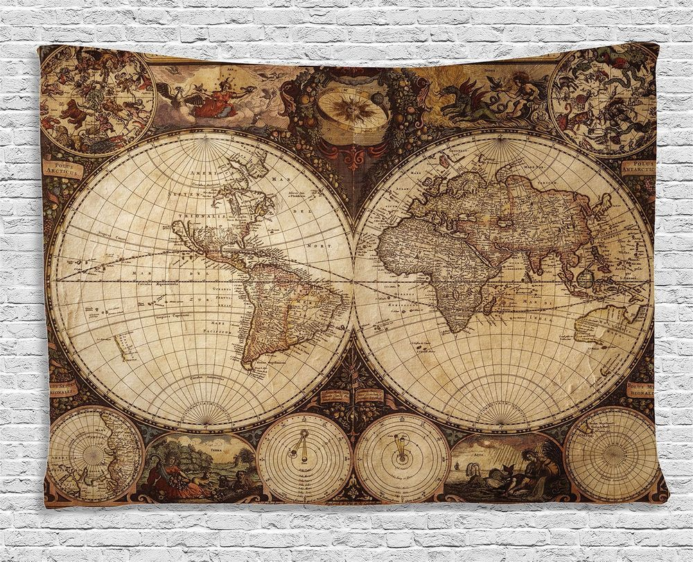 World old map tapestry vintage wall hanging art decor historical world old map tapestry vintage wall hanging art decor historical atlas 60 x 40 gumiabroncs Images