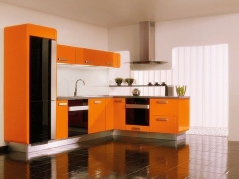 Good Two Tone Kitchen Cabinets Ideas Concept, With Modern Door Design And  Painted With Combining Color Like In This Images Picture, Modern Minimalis  Orange ...
