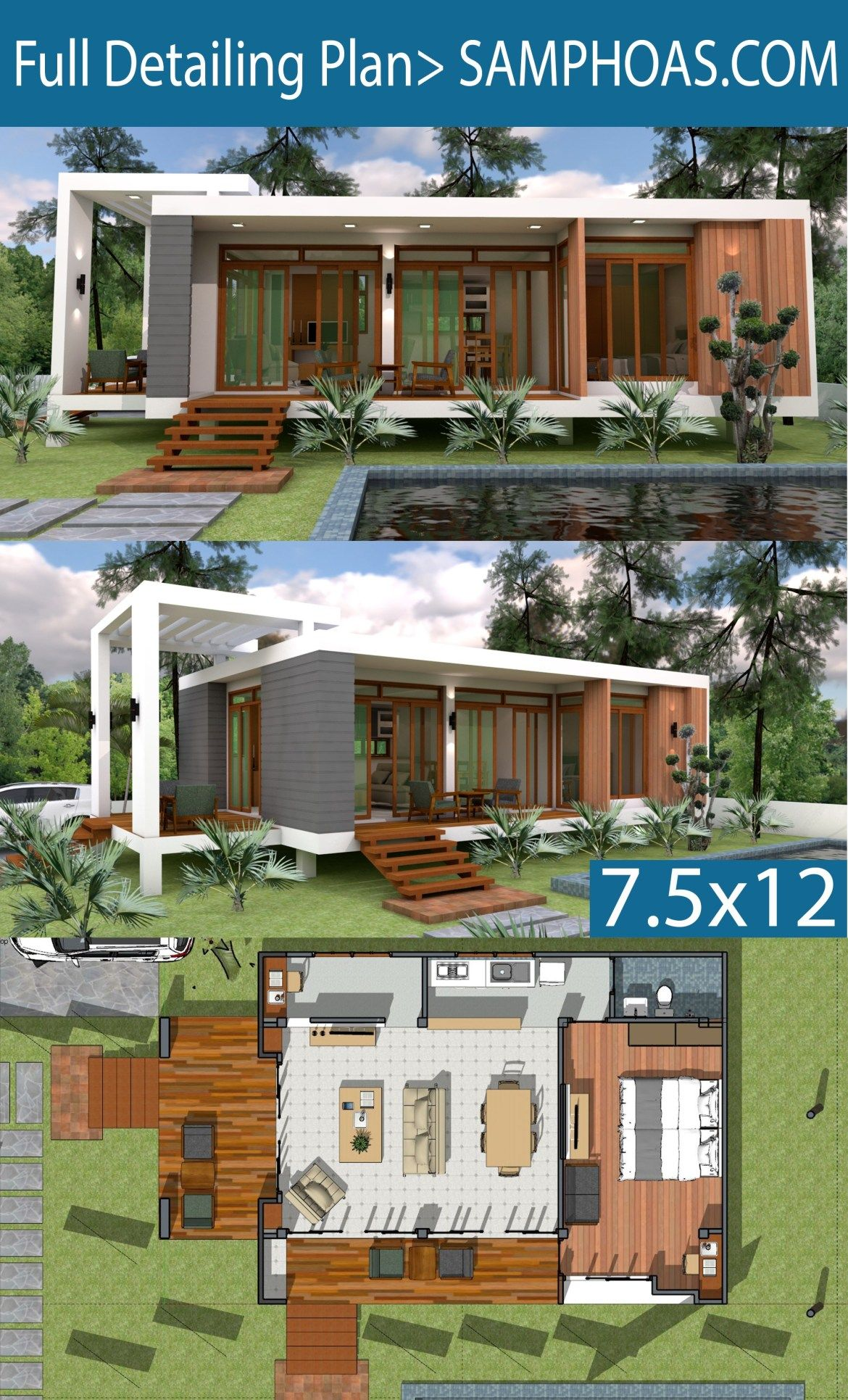 Sketchup Speed Build Home Design 7 5x12m Modern Small