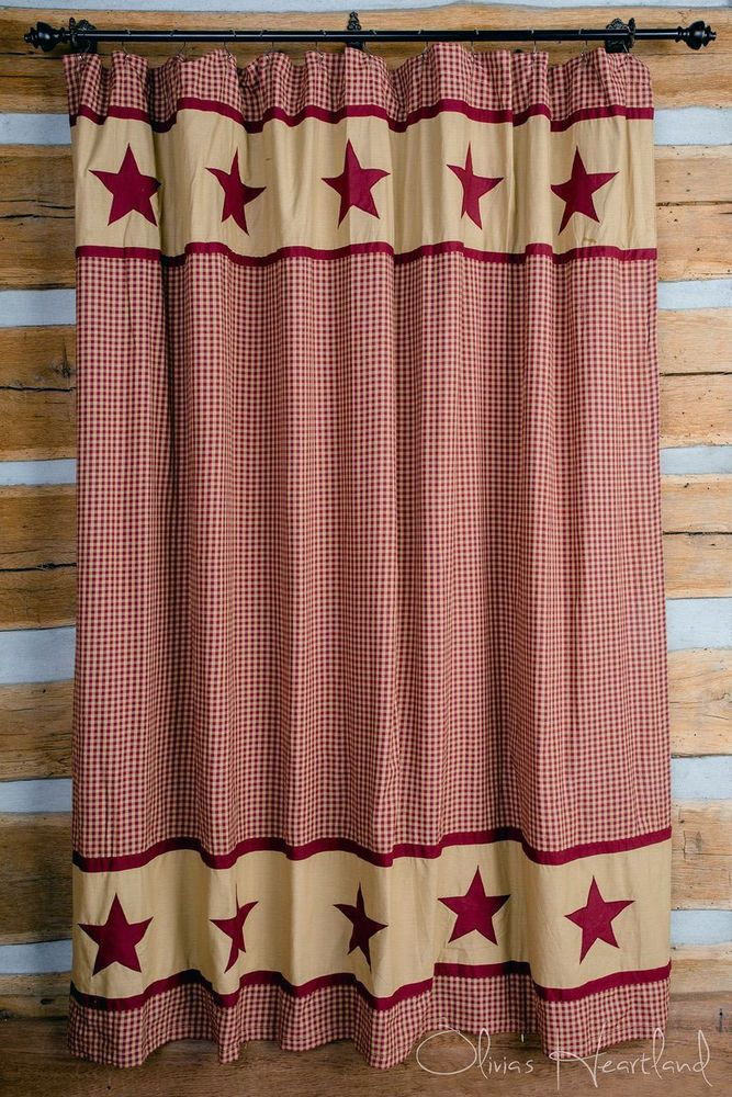 Fabric Shower Curtain Red Tan Star Plaid Rustic Country Bathroom