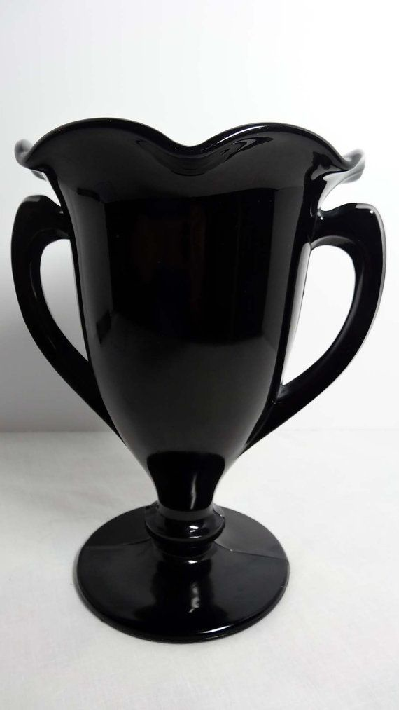 Black Milk Glass Vase With Handles Home And Garden Home Decor Vases