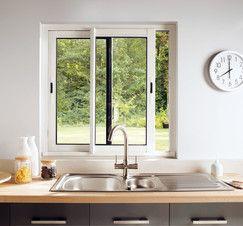 Fen tre coulissante en aluminium haute isolation blanc l 100 x h 100 cm fen tres for Fenetre coulissante 100 x 120