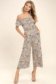 5b2df787b82 Beautiful Grey Floral Print Romper - Maxi Romper - Long Sleeve Romper -   72.00 -
