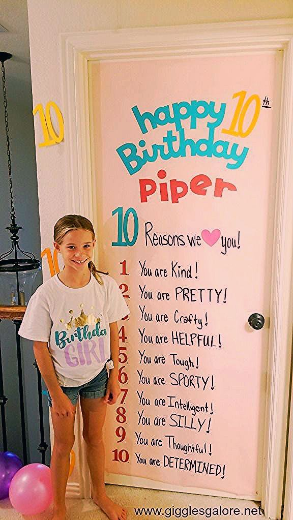 Photo of 10th Birthday Tradition and Surprise Birthday Sign