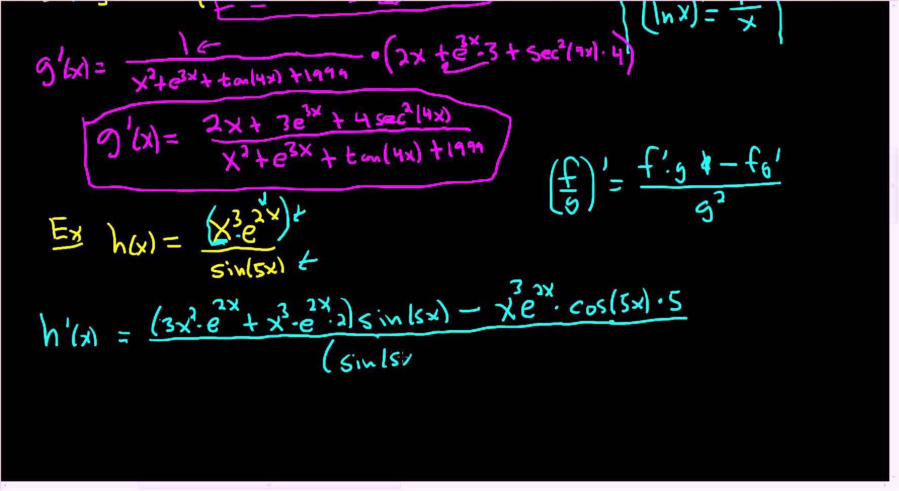 Calculus Derivatives Using The Product Quotient And