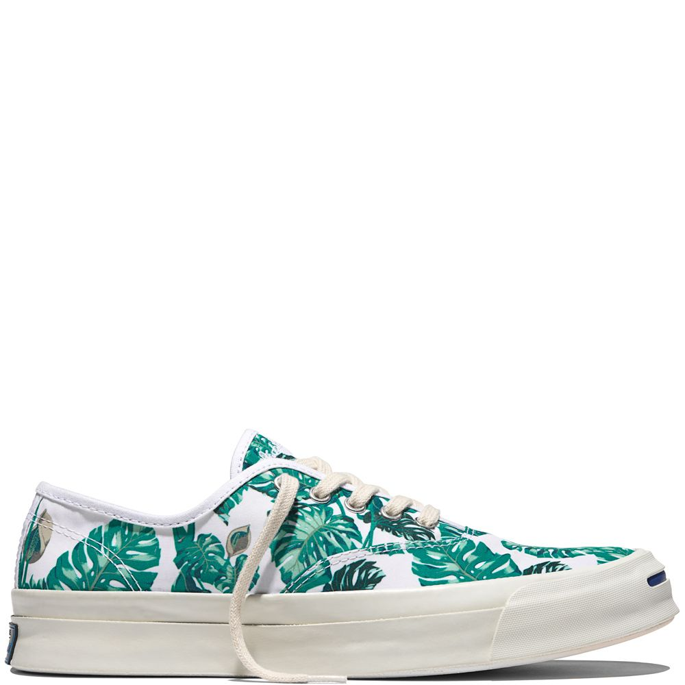 1b1e75878061 Jack Purcell Signature Tropical White white by Converse   Sneakers with  leaf print