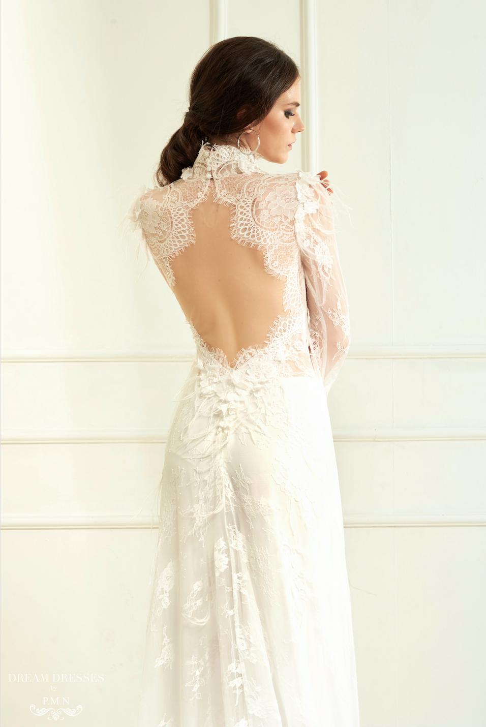 White Ao Dai Vietnamese Lace Bridal Dress (ALANNAH