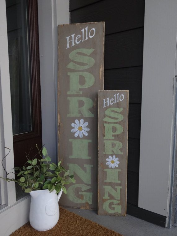 Outside Easter Decorations: Hello Spring Sign. 10x40 Hand Painted Wood Sign/Vertical